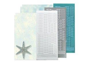 Sticker Bastelset: Stella sticker set, argento, bianco e blu