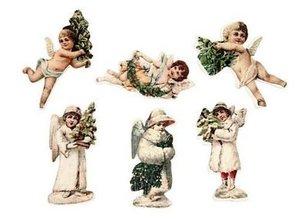 Embellishments / Verzierungen 24 Ángel, de madera, 6 diferentes