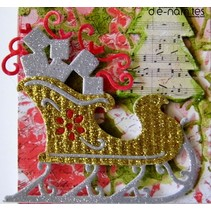 Cutting and embossing stencils Christmas sleigh with gifts