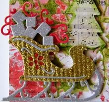 Die-namics Corte y estampado en relieve plantillas Trineo de la Navidad con los regalos