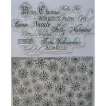 Selos transparentes, cristais de gelo e saudações de Natal em vários idiomas