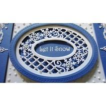 Stansning og prægning skabeloner, Jul: ramme med blonder og snefnug