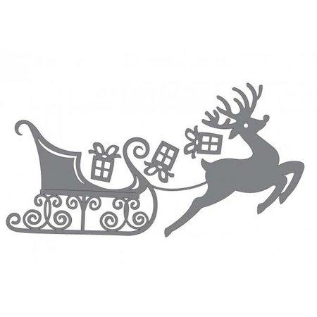 Couture Creations Skæring og prægning stencils, rensdyr med kane