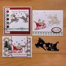 Cutting and embossing stencils, reindeer with sleigh