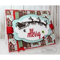 Cutting and embossing stencils, sleigh with reindeer 3
