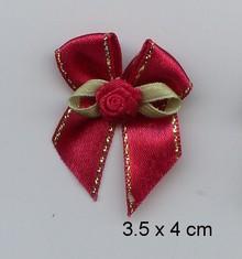 Embellishments / Verzierungen 3 Luxus Mini schleifen, rot