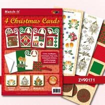 Bastelset: 4 Christmas Cards