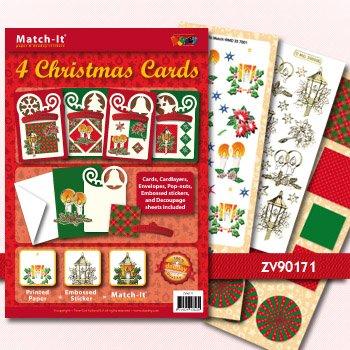 exlusiv bastelset f r 4 weihnachtskarten kasse ist. Black Bedroom Furniture Sets. Home Design Ideas