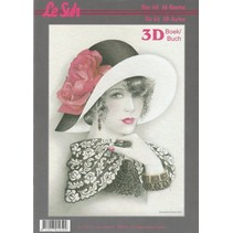 3D Bastelbuch A4 for 60 cards, women with hat