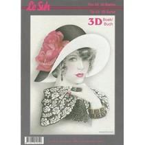 3D Bastelbuch A4 für 60 Karten, Damen mit Hut