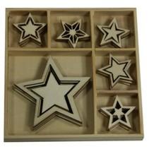 Holzornament Box, Sterne 30 Teile