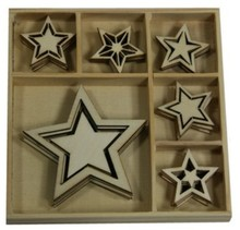Objekten zum Dekorieren / objects for decorating Wood Ornament Box, Star 30 parts