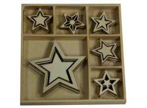 Objekten zum Dekorieren / objects for decorating Wood Ornament Box, Star 30 dele