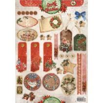 A4-vellen, VintageLine kerst labels / Aanhangwagens Studio Light
