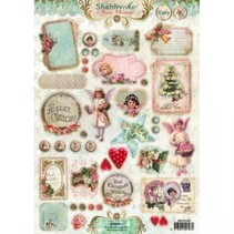 3D die cut sheet A4, Shabby chic, Christmas labels / Trailers Studio Light