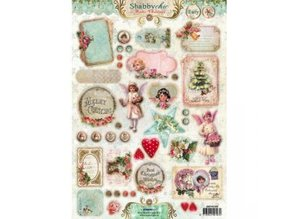 BILDER / PICTURES: Studio Light, Staf Wesenbeek, Willem Haenraets 3D die cut sheet A4, Shabby chic, Christmas labels / Trailers Studio Light