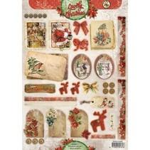 A4 vellen, Vintage Lijn Kerst labels / Aanhangwagens Studio Light