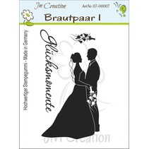 Rubber stamp, Newlyweds with Text: Happy Moments