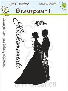 STEMPEL / STAMP: GUMMI / RUBBER Gummi Stempel, Brautpaar mit Text: Glücksmomente