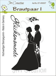 STEMPEL / STAMP: GUMMI / RUBBER Timbro di gomma, i novelli sposi con il testo: Happy Moments