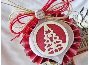 Spellbinders und Rayher Stempling og prægning stencil, christmas ball