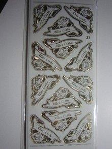 Sticker Ziersticker, engraving Stickerbogen, 23 x 10cm, with text selection