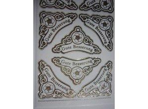 Sticker Ziersticker, gravering Stickerbogen, 23 x 10 cm, med tekst udvælgelse
