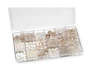 Schmuck Gestalten / Jewellery art Sortiment 21 x 10,5 x 2,4 cm, glasperler, hvidt