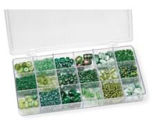 Schmuck Gestalten / Jewellery art Sortimentsbox Glasperlen, grün