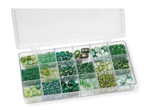 Schmuck Gestalten / Jewellery art Assortimento 21 x 10,5 x 2,4 cm con perle di vetro, verde