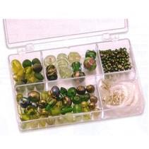 Schmuckbox glazen kralen assortiment groen