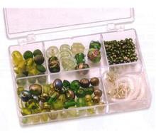 Schmuck Gestalten / Jewellery art Perle di vetro verde Schmuckbox assortimento