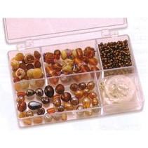 Schmuckbox glazen kralen assortiment bruin