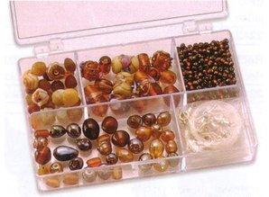 Schmuck Gestalten / Jewellery art Schmuckbox glass beads assortment brown
