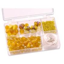 Schmuckbox glazen kralen assortiment geel