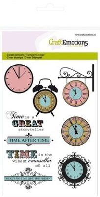 Crealies und CraftEmotions Transparent stamps Topic: Time