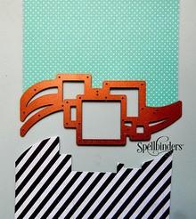Spellbinders und Rayher Stempling og prægning stencil, Spellbinders, grænse med firkanter