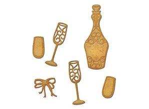 Spellbinders und Rayher Stempling og prægning stencil, Spellbinders, Bottle + 2 briller