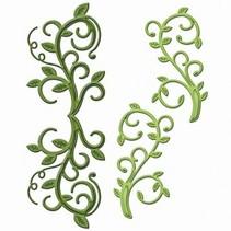 Stempling og prægning stencil, Spellbinders, metal stencil Shapeabilities, grene med blade