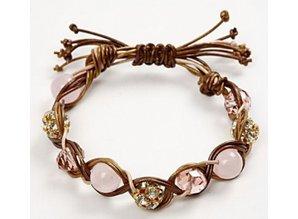 Joyería artesanal establecido con 3 correas y perlas de cuero teñidos