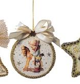 Embellishments / Verzierungen 3 acryl ruiten, vorm: klok, rond en classificatie