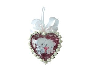 Embellishments / Verzierungen 2 Acrylglasmedaillons, Herzen 8cm, 2teilig