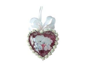 Embellishments / Verzierungen 2 medaglioni vetro acrilico, 8 centimetri cuore, 2 parti