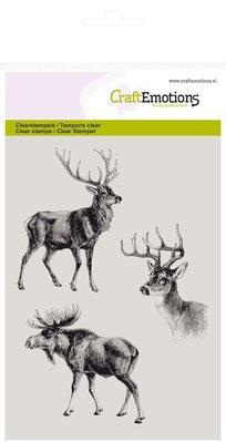 Crealies und CraftEmotions Gennemsigtige frimærker, rensdyr
