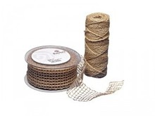 Embellishments / Verzierungen Jute mesh belt, nature, 50 mm, sold by the meter