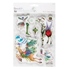 Docrafts / Papermania / Urban Gummi frimærker, julemotiver med nostalgisk rensdyr
