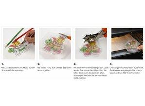 BASTELZUBEHÖR / CRAFT ACCESSORIES 4 shrink film fogli con movente, foglio 10,5x14,5 cm