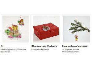 BASTELZUBEHÖR / CRAFT ACCESSORIES 4 shrink films sheets with motive, sheet 10,5x14,5 cm