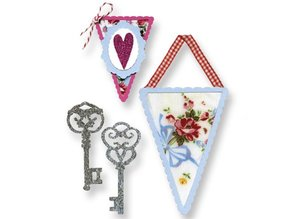 Sizzix Stamping template, banners and keys