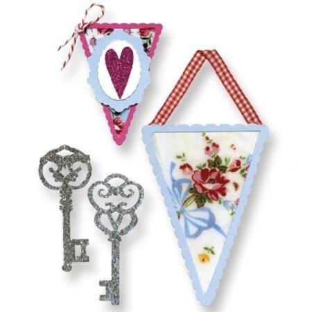 Sizzix Stempling skabelon, bannere og nøgler
